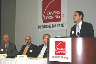 International Trade Specialist Ryan Mulholland speaks at the Forum on Energy Efficiency in Manufacturing at Owens Corning in Toledo, Ohio