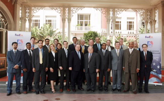 Members of the FedEx Trade Mission to India Take Time to Pose for a Photo in Mumbai, India