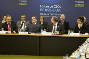 Secretary Locke (far right) shares a laugh with other senior government officials attending the U.S.-Brazil CEO Forum