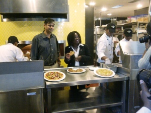 Assistant Secretary of Commerce Nicole Lamb-Hale visits a California Pizza Kitchen franchise at the Phoenix Mills Complex in Mumbai, India