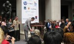 Under Secretary for International Trade Francisco Sanchez rings the gong to open the Education Fair hosted by The Putera Sampoerna Foundation.