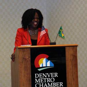 "Assistant Secretary for Manufacturing and Services Nicole Y. Lamb Hale during the ""Opportunities for Colorado Green Companies in Brazil"" event in Denver"