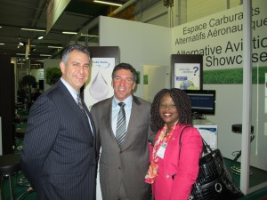 Under Secretary for International Trade Francisco Sánchez (left), ITA Assistant Secretary for Manufacturing and Services Nicole Y. Lamb-Hale (right) and AltAir Founder and CEO Tom Todaro (middle) at the Alternative Aviation Fuels Showcase at the 2011 Paris Air Show.  Photo Courtesy of Kallman Worldwide.