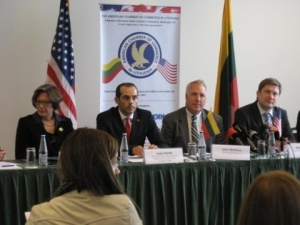 From left to right.  U.S. Ambassador Anne Derse,  Deputy Assistant Secretary for Europe Juan Verde, Representative John Shimkus, Lithuanian Minister of Economy Rimantas Zylius.