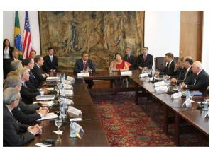 Presidents Obama and Rousseff address the U.S.-Brazil CEO Forum at the last meeting held March 19, 2011 in Brazil.