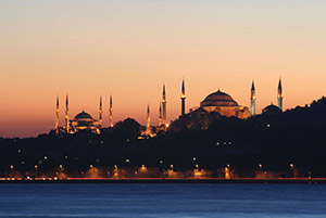 Istanbul, Turkey: the blue mosque and Hagia Sofia at sunset (© yusuf anil akduygu/iStock)