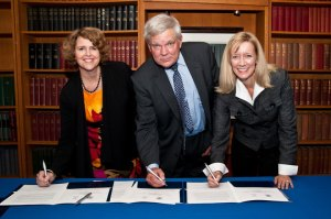 An agreement establishing the Alysia Wilson Memorial Internship was signed on September 22, 2011, by (from left to right): Jennifer L. Windsor, associate dean at Georgetown University's School of Foreign Service; Walter Bastian, deputy assistant secretary for the Western Hemisphere; and Michelle O'Neill, deputy under secretary for international trade. (U.S. Department of Commerce photo)