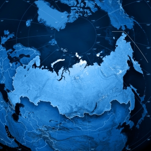 Map of Russia in Blue