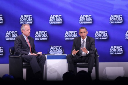 James McNerney, Jr., president and CEO of The Boeing Company (left) and President Barack Obama (right) at the APEC 2011 CEO Summit that was part of this year's APEC events held in Honolulu, Hawaii (photo courtesy APEC)