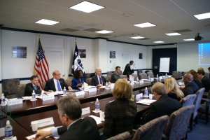 Assistant Secretary for Manufacturing and Services Nicole Y. Lamb-Hale (center) with Commerce Secretary John E. Bryson (second from right) and Under Secretary for International Trade Francisco Sánchez (right) meet with the Manufacturing Council