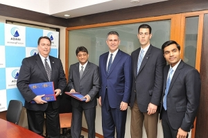 Sister port MoU signed between the Port of Baltimore and the Adani Group's Mundra Port. U.S. Under Secretary of Commerce for International Trade, Francisco Sánchez witnessed the signing of the MoU in Ahmedabad. (photo American Center Mumbai)