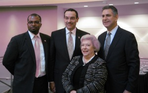(L-R) D.C. Mayor Vincent Gray, DSLBD Director Harold Pettigrew, SBA Deputy Associate Administrator Luz Hopwell, and Under Secretary Francisco Sánchez at the ExportDC announcement.