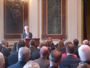 "Commerce Secretary John E. Bryson welcomes the 41 ""E"" and ""E Star"" Award winners to the Indian Treaty room."