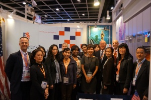 Commercial Service and Hong Kong Trade Development Council staff at the booth during Hong Kong Filmart