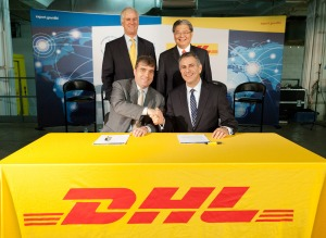 Under Secretary Sánchez (bottom right), Stephen Fenwick, CEO of DHL Express Americas, Jerry Hsu, CEO of DHL Express, Asia Pacific, and Ian Clough, CEO of DHL Express (USA), make ITA and DHL's new partnership official at an MOU signing ceremony in New York City. (Photo Zack Seckler Photography)