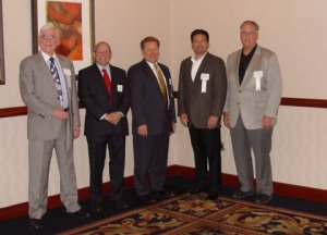 "The 2012 Ohio ""E"" and ""E Star"" Award winners (left to right) Frank Reynolds of International Projects; Jim Huttner of Bionix; Ron Swinko of Jet, Inc.; Mike Ivany of Flow Polymer; Milton Knight of New Waste Concepts"