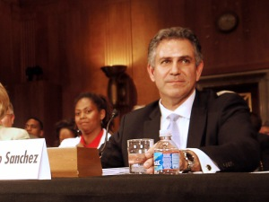Under Secretary of Commerce for International Trade Francisco Sanchez testifies before the Senate Foreign Relations Subcommittee on African Affairs on July 25, 2012.