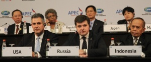 Under Secretary Sanchez (left) making remarks on innovation and Intellectual Property Rights at APEC St. Petersburg. (Photo APEC)