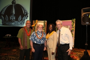 (pictured from L to R) Mike McCartney, President and CEO, Hawaii Tourism Authority (the state's tourism agency), Hawaii Governor Neil Abercrombie, Assistant Secretary Nicole Lamb-Hale, and Bruce Coppa, Chief of Staff, Governor's Office. (Photo Hawaii Tourism Authority)