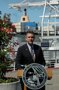 Under Secretary Francisco Sánchez during a ceremony formalizing a partnership to promote exports between ITA and the American Association of Port Authorities.