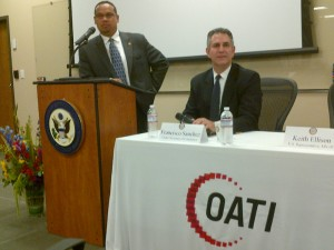 Congressman Keith Ellison (MN-5) and Under Secretary Francisco Sánchez take questions from local companies during a business round table event in Minneapolis. (Photo Commerce)