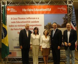 (L to R) U.S. Embassador to Brazil, Thomas A. Shannon, Jr., Rita Moriconi, Regional EducationUSA Director for Southern Cone Countries, Lucia Maria Martins do Santos, Executive Director of Casa Thomas Jefferson, Francisco J. Sanchez, Under Secretary for International Trade open the EducationUSA trade fair in Brasilia, Brazil (Photo CJT Online)