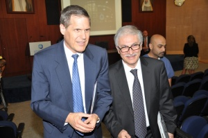 "Ambassador Tueller (left) and Dr. Kazem Behbehani, Director General of the Dasman Diabetes Institute at the ""Diabetes 101: Understanding Diabetes Worldwide"" Digital Video Conference on November 14, 2012."