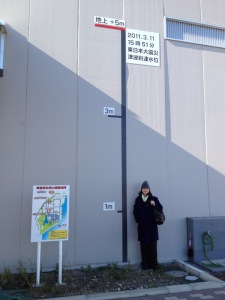 Cora Dickson of the International Trade Administration stands by a sign indicating the high water mark of the floodwaters at the Tohoku Electric Utility's liquified natural gas plant following the March 2011 earthquake and tsunami.