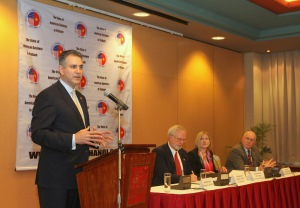 Under Secretary of Commerce for International Trade Francisco Sanchez (L) speaks on a panel in Hanoi, Vietnam on November 14, 2012 with (L-R) Ambassador David B, Shear, Leocadia Zak of the U.S. Trade Development Agency and John Moran from the Overseas Private Investment Corporation.