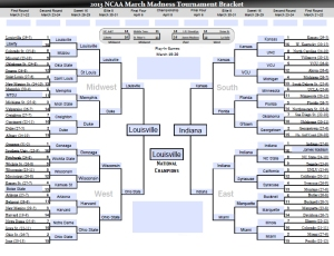 Uder Secretary Sanchez has Louisville, Indiana, Ohio State and Kansas in his Final Four. He picked Louisville to beat Indy for the championship. Notable upsets include Harvard making the Sweet 16 and Wisconsin knocking out Gonzaga to make the Elite 8.