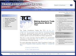 Screenshot of Trade Compliance Center website