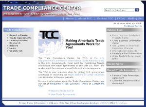 Screenshot of Trade Compliance Center website