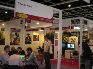 Filmart attendees gather around the U.S.A. pavilion.