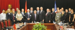 Under Secretary of International Trade Francisco Sánchez and U.S. delegation members meet with Vietnamese Minister of Science and Technology Nguyễn Quân and others in Hanoi, Vietnam.