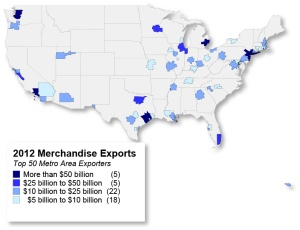 Five metro areas achieved more than $50 billion in 2012 exports.