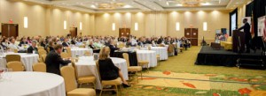 The Discover Forum featured an impressive list of speakers providing insight on doing business around the world. The image shows one speaker addressing all attendees during a keynote address.
