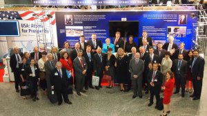 Deputy Assistant Secretary Chandra Brown and other U.S. government officials with the industry delegation at the USA: Atoms for Prosperity Exhibit.