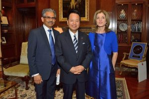 From left: SelectUSA Executive Director Vinai Thummalapally, Minister of State for Economic and Fiscal Policy Akira Amari, and Ambassador Caroline Kennedy at the Investment Showcase in Tokyo. View more photos from the event on the ITA Facebook page.
