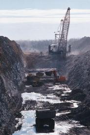 Mechanical equipment excavating a ravine.