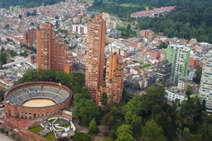 Aerial view of a city in Colombia