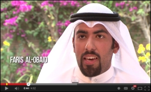 Faris al-Obaid is one Kuwaiti citizen featured in the video series who enjoyed his experience as a student in the United States.