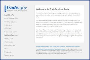 ITA's Trade Developer Portal provides APIs for office locations, market research, trade events, trade leads and trade news.