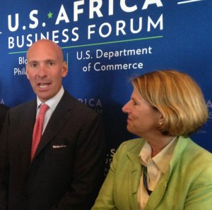 Under Secretary of Commerce for International Trade Stefan M. Selig speaking with Elizabeth Littlefield, President & CEO of the Overseas Private Investment Corporation (OPIC) at the U.S.-Africa Business Forum