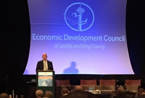Under Secretary of Commerce for International Trade Stefan Selig delivers remarks to the Annual Seattle Economic Forecasting Conference on January 15, 2015.