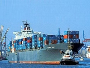 A  cargo container ship representing exports.