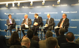 Under Secretary Stefan M. Selig (second from left) discusses the importance of exports as part of a panel discussion hosted by the Atlantic Council in Washington, DC on February 5, 2015.