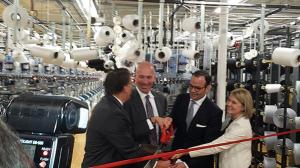 Under Secretary Stefan Selig (seond from left) participates in a ribbon cutting ceremony with North Carolina Governor Pat McCrory (left) PEDS Legwear President and CEO Michael Penner and Walmart Vice President of U.S. Manufacturing Cindi Marsiglio.