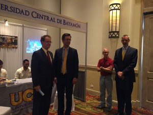 Deputy Assistant Secretary Ted Dean and Ambassador James Nealon open the Education Fair in Tegucigalpa, Honduras.