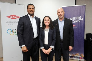 Deborah Borg (center), president of Dow USA, with Assistant Secretary of Commerce for Industry and Analysis Marcus Jadotte (left) and  Dow's St. Charles Operations site director Johnny Chavez at the Dow Louisiana St. Charles Operation site.