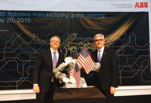 Deputy Secretary Bruce Andrews and ABB CEO Ulrich Spiesshofer at the Michigan ribbon cutting